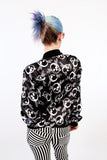 vintage windbreaker skull print black and white double sided retro jacket windbreaker jacket