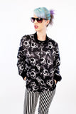 black and white retro jacket vintage windbreaker skull print double sided windbreaker jacket