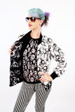 double sided black and white vintage windbreaker skull print retro jacket windbreaker jacket