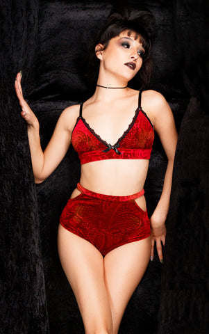 Blood Red Devore velvet bralette bra and panty lingerie set