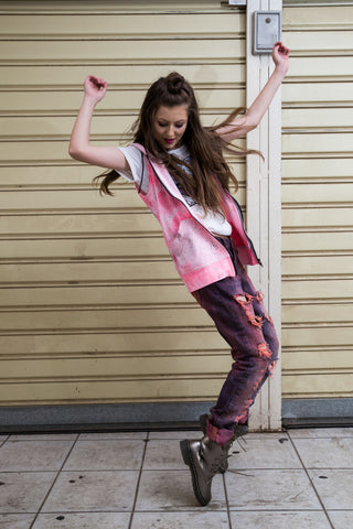 Just The Right 'Tude sleeveless zipper Hoodie in pink black splatter