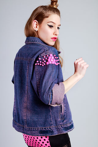 Punks Not Dead neon pink studded upcycled denim jacket