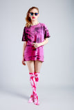 All Twisted Up Mens tie dye streetwear T shirt in pink & black
