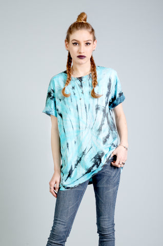 All Twisted Up Mens tie dye T shirt in turquoise