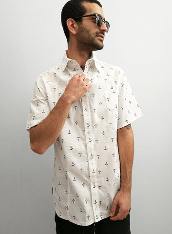 Renegade Anchor print Cotton buttoned up short sleeve Shirt