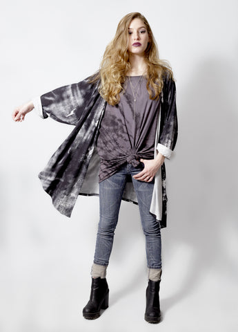 the slouch abstract black and white oversized cardigan kimono