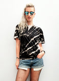 All Twisted Up Acid Wash tie dye T shirt in Black zebra