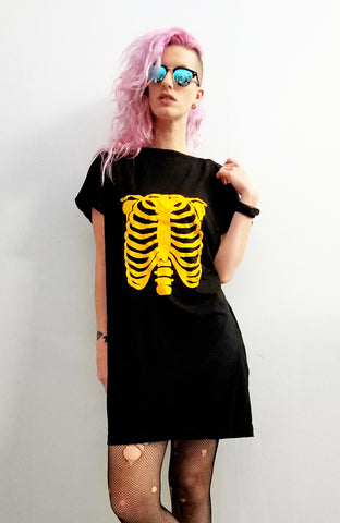 Ribcage print slouchy oversized tshirt dress