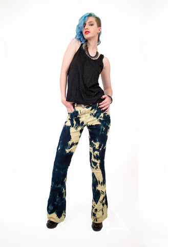 upcycled jeans flared jeans punk pants bleached jeans upcycled jeans steampunk pants