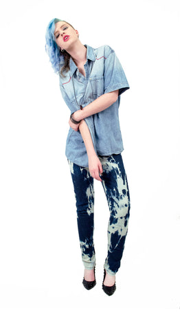 punk pants  steampunk pants upcycled jeans upcycled denim bleached jeans steampunk pants skinny jeans