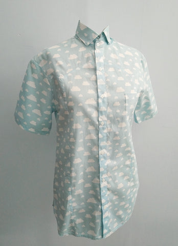 Renegade cloud print Cotton buttoned up short sleeve Shirt in blue