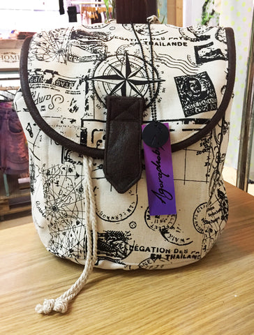World Traveler Compass Backpack | canvas bag | suede bag