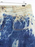 upcycled denim skirt  boho chic bleached jeans soft grunge denim skirt