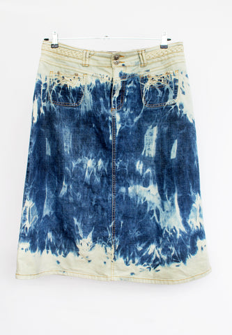 upcycled denim skirt  bleached jeans soft grunge denim skirt boho chic