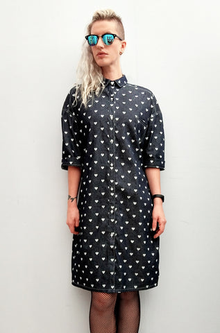 b7a149ef03 ... All Buttoned Up And Ready To Go oversize heart print denim Shirt Dress  ...