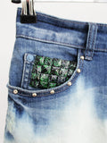 studded skirt Ombre jeans skirt upcycled denim skirt mini skirt dip dye skirt