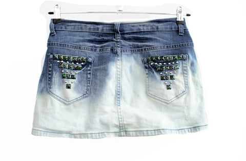 studded skirt Ombre upcycled denim skirt mini skirt dip dye skirt jeans skirt