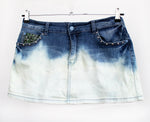 Ombre upcycled denim skirt mini skirt dip dye skirt jeans skirt studded skirt