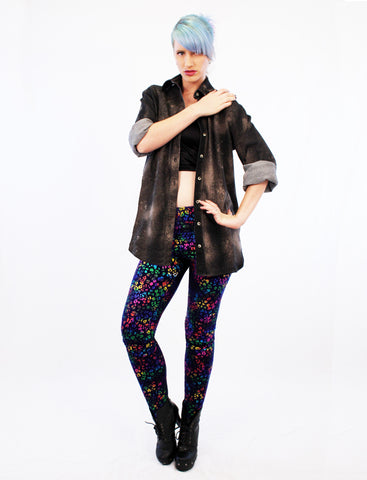 iridescent leopard leggings streetwear leopard print leggings soft grunge shiny spandex leggings