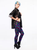 streetwear iridescent shiny spandex leggings soft grunge leopard leggings leopard print leggings