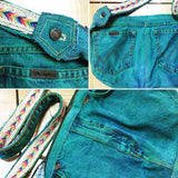 My Hobo Green Acid Wash Denim shoulder bag