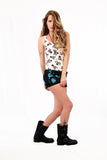 electric turquoise heart bleached hot pants upcycled denim shorts
