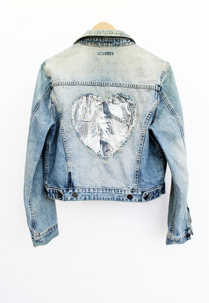 Heart It See Through Glitter Heart Studded Upcycled Denim