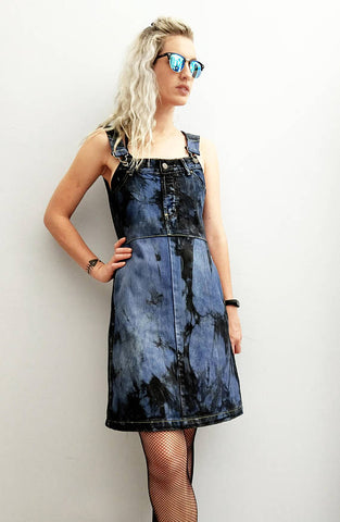 denim dungaree overall dress in blue denim black smoke