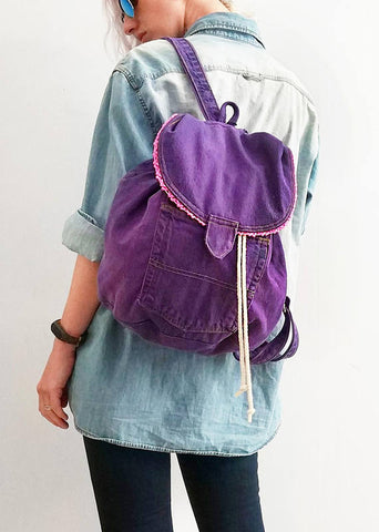 My purple denim backpack | vegan canvas backpack