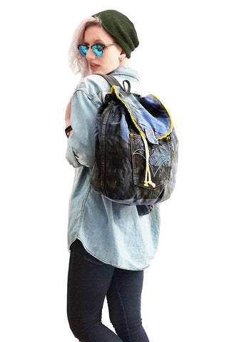 My blue denim backpack in black smoke | vegan canvas backpack