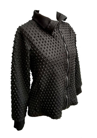 Alien Babe Exoskeleton asymmetrical black tactile neoprene jacket