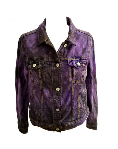 Age Of Decay purple tie dye denim jacket in black smoke