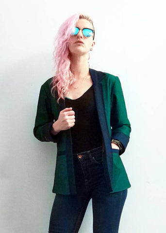 The Huntress blue & hunter green rock star jacket