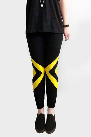 gone tribal arrow insert yellow black leggings