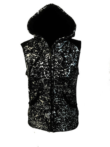 Just The Right 'Tude sleeveless zipper Hoodie in silver splatter