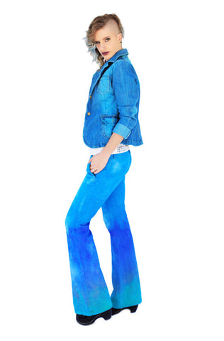 Acid Angel Electric Turquoise Ombre mermaid Flared jeans