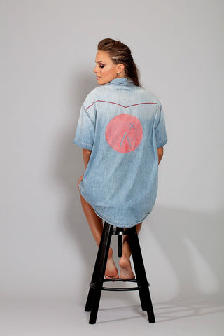 My Boyfriends top oversized logo print upcycled denim top