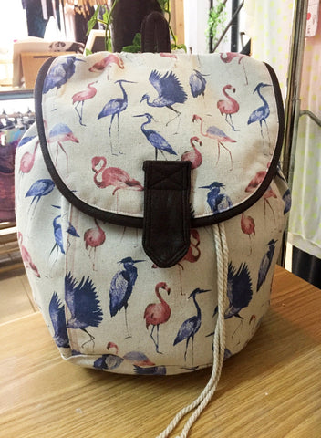 printed backpack egret flamingo print drawstring backpack leather & canvas backpack | Canvas Bag | vegan bag