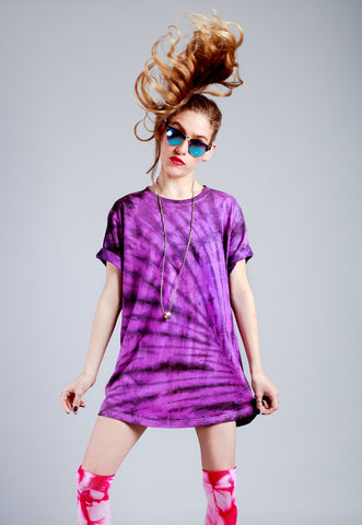 Handmade All Twisted Up tie dye shirt in Frisky purple | tie dye soft grunge 90s clothing |  trippy psychedelic t shirt