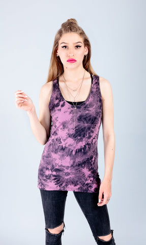 handmade purple smoke tie dye shirt tank top muscle tank women batik grunge  | comfort colors tank psychedelic clothing