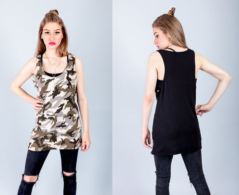 handmade camo print tank top camouflage muscle tank women military grunge clothing  | soft grunge 90s clothing