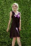 Purple tie dye soft grunge slip dress fairy dress | pastel goth slip dress gothic lace n rose details