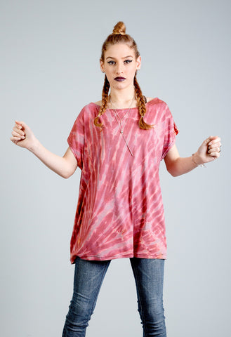 Handmade All Twisted Up tie dye shirt in trippy earthy red | tie dye psychedelic t shirt | pastel grunge 90s clothing