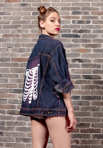 skeleton anatomy denim jacket acid wash magenta purple cyberpunk Jacket | punk jacket ribcage oversized denim jacket jeans jacket size L