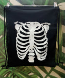 Halloween bag trick or treat bag skeleton bag human anatomy print rib cage print vegan backpack canvas backpack  | drawstring backpack