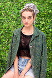 Punk Jacket Acid wash yellow green floral grunge denim jacket | 90s clothing floral blazer | romantic jeans jacket size M