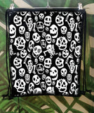 Halloween bag skull bag trick or treat bag  drawstring backpack | goth backpack printed backpack vegan backpack canvas backpack |