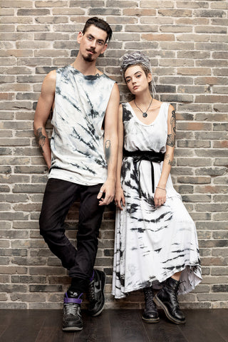 All Twisted Up black tie dye mens t shirt tie dye tunic  | Unisex psychedelic clothing | festival clothes men 90s tie dye shirt