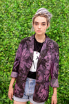 Purple tie dye denim jacket soft grunge Acid wash magenta purple fitted blazer jean jacket | punk jacket jeans jacket size L