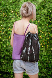 bleached denim bag handmade drawstring backpack distressed denim vegan backpack | beach bag hipster backpack